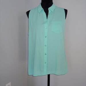 The Limited Ashton Teal Button-up Tank